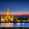 Thailand - Bangkok - Wat Arun - Temple of the Dawn - One of the best known landmarks consisting of a massive elongated prang (Khmer-style tower) surrounded by four smaller prangs