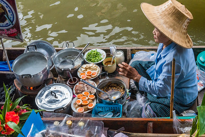 Dec 2017 -  TRiverside cooking at he Damnoen Saduak Floating River Market, Bangkok, Thailand
