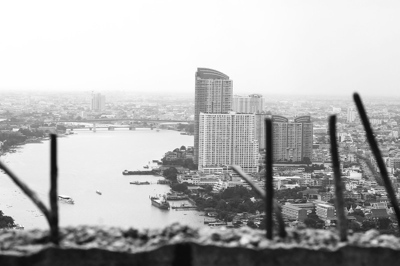 View of Chao Phraya River from on top of the Ghost Tower. November 2014
