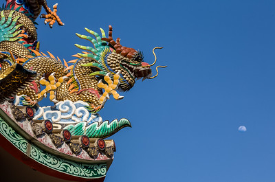 Chinese Dragon and the Moon