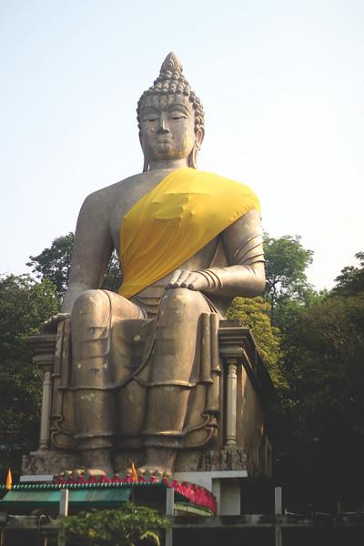 Huge buddha hidden in the back roads of Chonburi. November 2014