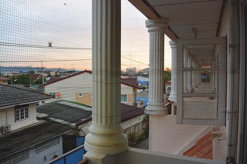 Sunrise view from my third floor balcony room. November 2014