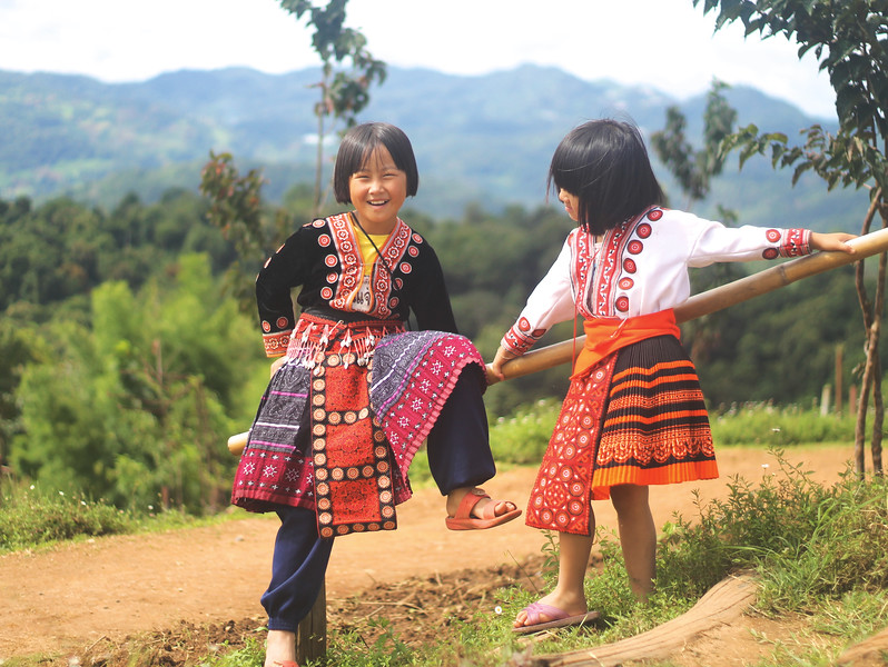 Children of the Hmong hill tribe. August 2015
