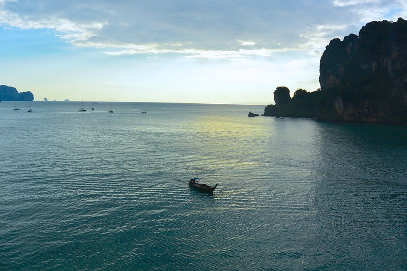 Long-tail boats are the only way to get to and from Krabi. December 2014