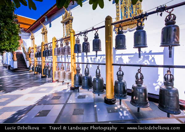Thailand - Chiang Mai - Doi Suthep Temple - Wat Phra That Doi Suthep - Ratchaworawihan - Theravada Buddhist temple - Sacred site to many Thai people