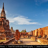 Thailand - Ayutthaya - Ancient capital city of Kingdom of Siam - Ayutthaya Historical Park - Archaeological site with palaces, Buddhist temples, monasteries & statues - Wat Phra Mahathat - One of Ayutthaya's most important temples
