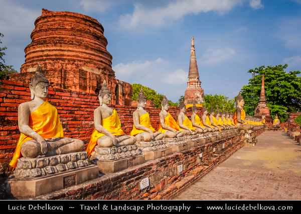 Thailand - Ayutthaya - Ancient capital city of Kingdom of Siam - Ayutthaya Historical Park - Archaeological site with palaces, Buddhist temples, monasteries & statues -  Wat Yai Chai Mongkhol - One of Ayutthaya's most important Buddhist temples