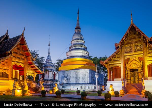 Thailand - Chiang Mai - Wat Phrasingh - Wat Phra Singh (Gold Temple) - 14th-century Buddhist temple boasting gold & copper Buddhas, murals & ancient manuscripts