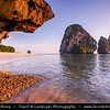 Thailand - Krabi - Railay Beach - Small peninsula with white sand beaches, soaring limestone cliffs & caves on shores of Andaman Sea