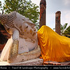 Thailand - Ayutthaya - Ancient capital city of Kingdom of Siam - Ayutthaya Historical Park - Archaeological site with palaces, Buddhist temples, monasteries & statues -  Wat Yai Chai Mongkhol - One of Ayutthaya's most important Buddhist temples - Wihan Phraphutthasaiyat - Reclining Buddha
