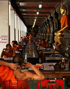 Bangkok, Thailand Young monks studying at Wat Suthat Thep Wararam.