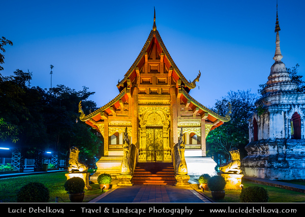 Thailand - Chiang Mai - Wat Phrasingh - Wat Phra Singh (Gold Temple) - 14th-century Buddhist temple boasting gold & copper Buddhas, murals & ancient manuscripts