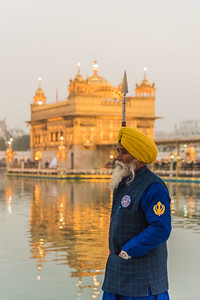 January 2018 - The Golden Temple in Amritsar, India. Guards standing by.
