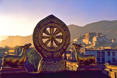 Two deer flank the Wheel of Dharma on roof of the Jokhang