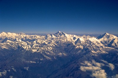 View of Mt. Everest and the Himalayan range from the air