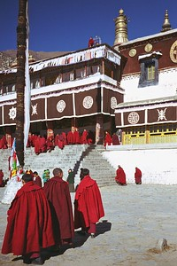 Monks assembling for prayer