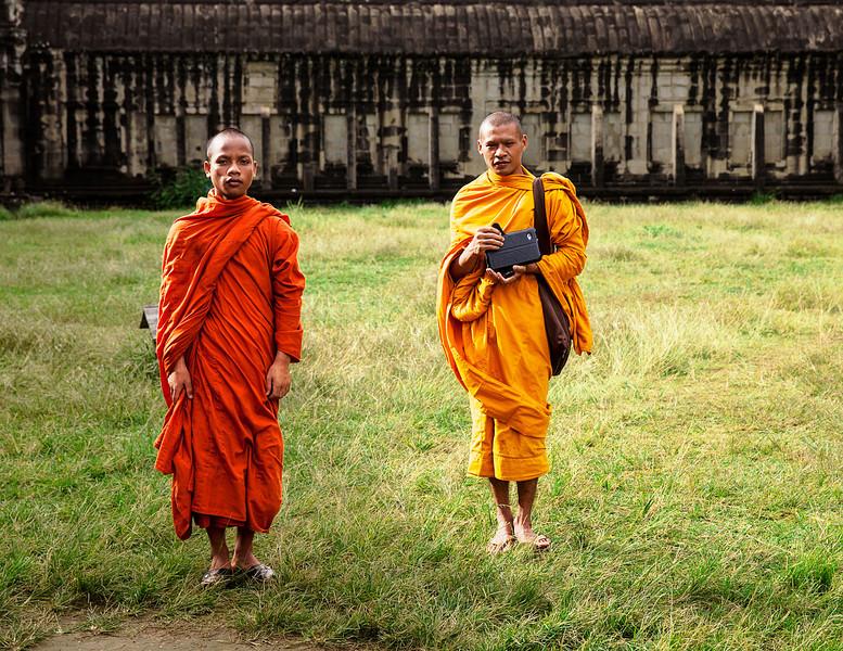 Two Monks At Angkor Wat