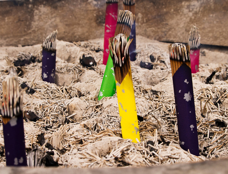 Smoke from incense is used as a traditional part of the purification rituals at Shinto shrines in Japan. The incense burns in an urn at the front entrance to most of the religious sites.