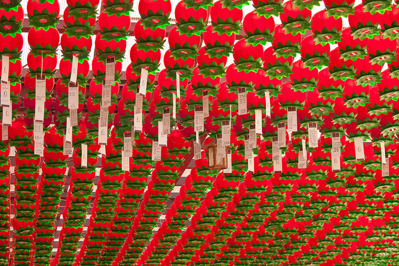 Hundreds of red paper lanterns are strung overhead in the first worship area of the Bongeunusa Buddhist temple in Seoul, South Korea. A few have prayer papers hanging from them.