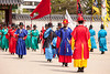SEOUL, KOREA - APRIL 27, 2012: The ceremony to change the guards at the Gyeongbokgung Palace complex on June 27, 2012 in Seoul, Korea. The guards wear colorful uniforms in the pageant.