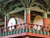 Two of the huge drums at the Bongeunsa Buddhist Temple in Seoul, South Korea. The drums are kept in a building that is painted in bright decorative colors.