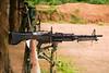 A M-1 (I think) machine gun, loaded with live ammunition, on a firing range in Vietnam.