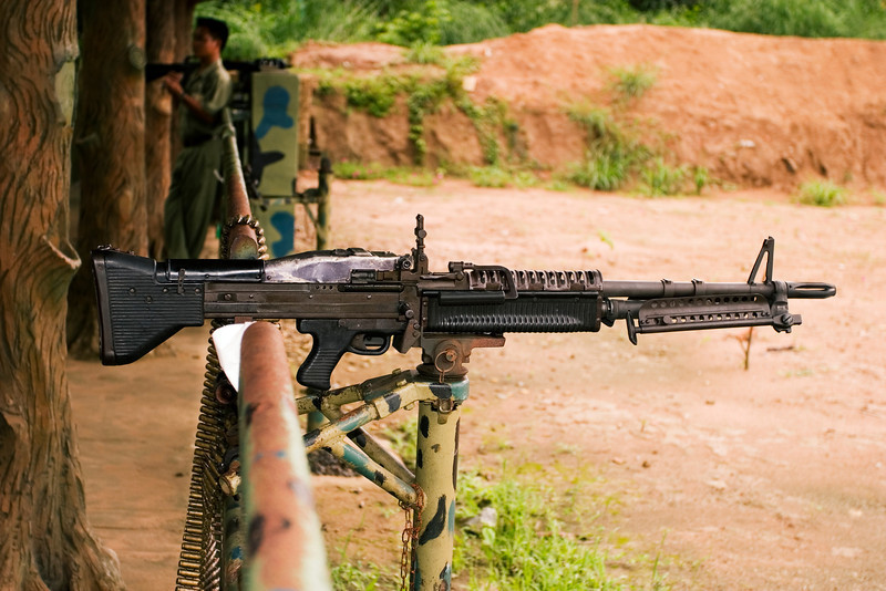 A M-1 (I think) machine gun, loaded with live ammunition, on a firing range in Vietnam.