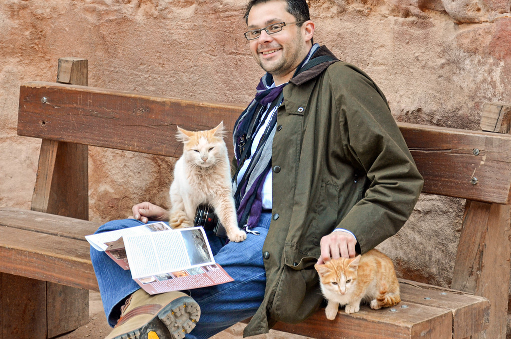 Brian and the cats at the Treasury in Petra.
