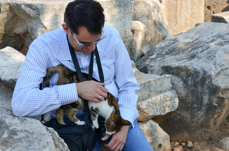 Brian with one of the friendly cats in Ephesus.