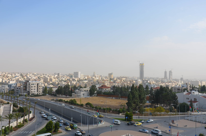 Our first morning in Jordan - a view from our suite at the Sheraton in Amman.