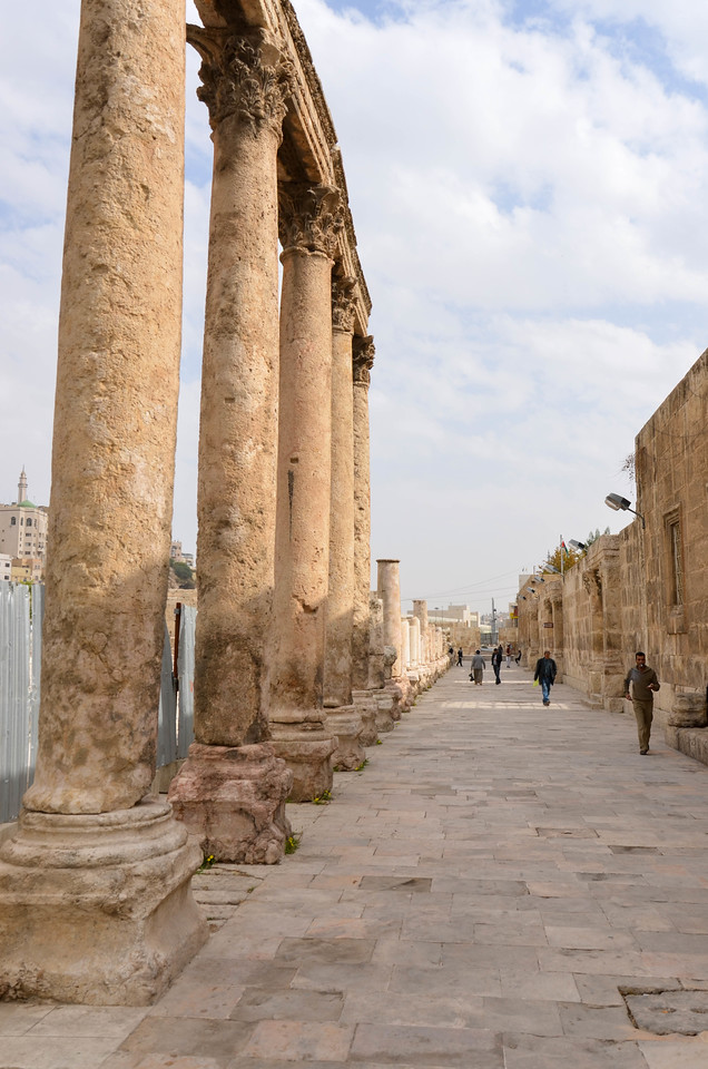 The colonnaded street and entrance to the Roman Theatre in Amman.