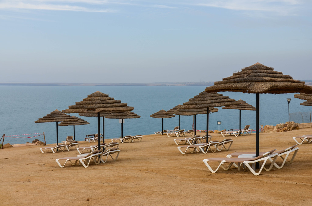 View of the Dead Sea from the Jordan Valley Marriott Resort & Spa. Israel is visible on the horizon.