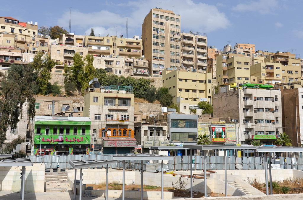 Shops and apartments in downtown Amman.
