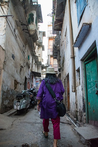 Walking along the narrow streets of Udaipur.