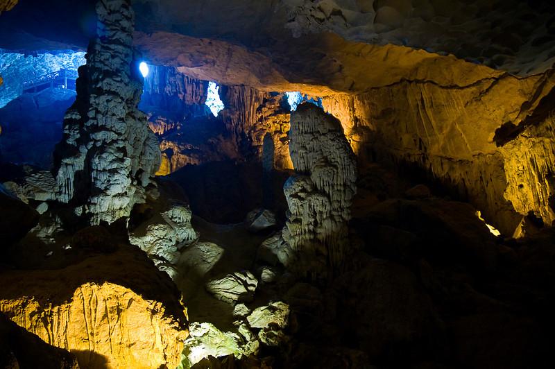Sung Sot cavern inside limestone karst, Halong Bay, Vietnam