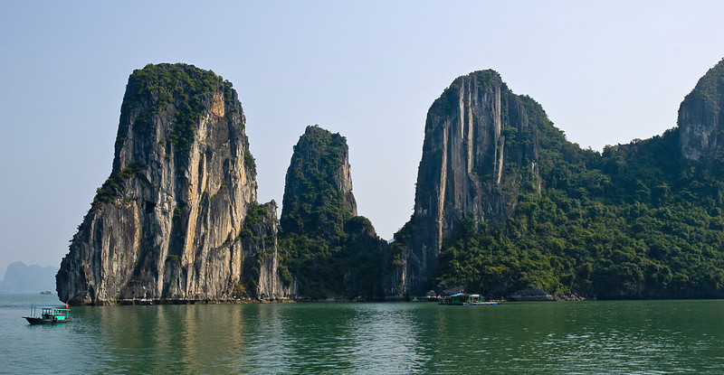 Fishing boat and floating house, Halong Bay