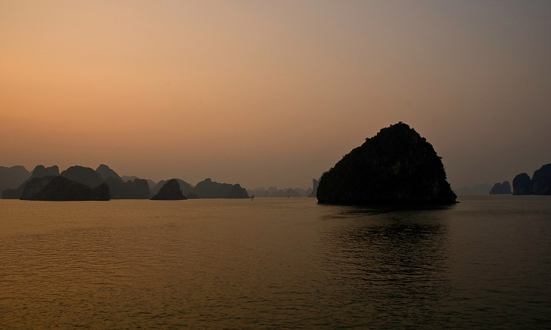 The changing light on Halong Bay