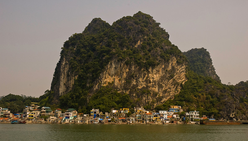 Halong Bay community, some homes on land, some on water