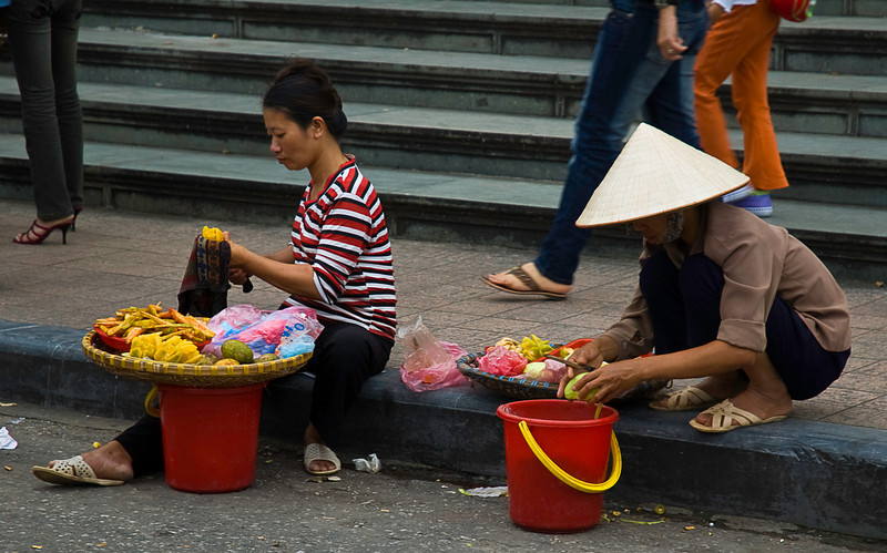 Snack fruit vendors in front of St Joseph's Cathedral, Hanoi