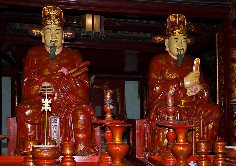 These are very wise and spiritually advanced men as shown by their elongated ear lobes. Temple of Literature, Hanoi