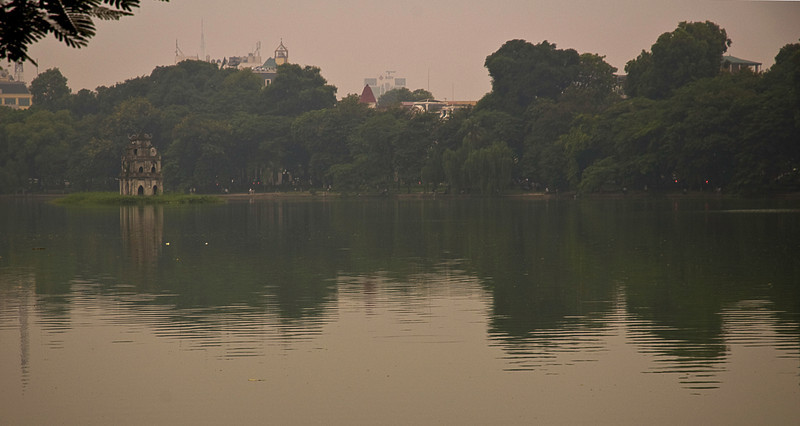 Hoan Kiem Lake and the Turtle Pagoda in central Hanoi