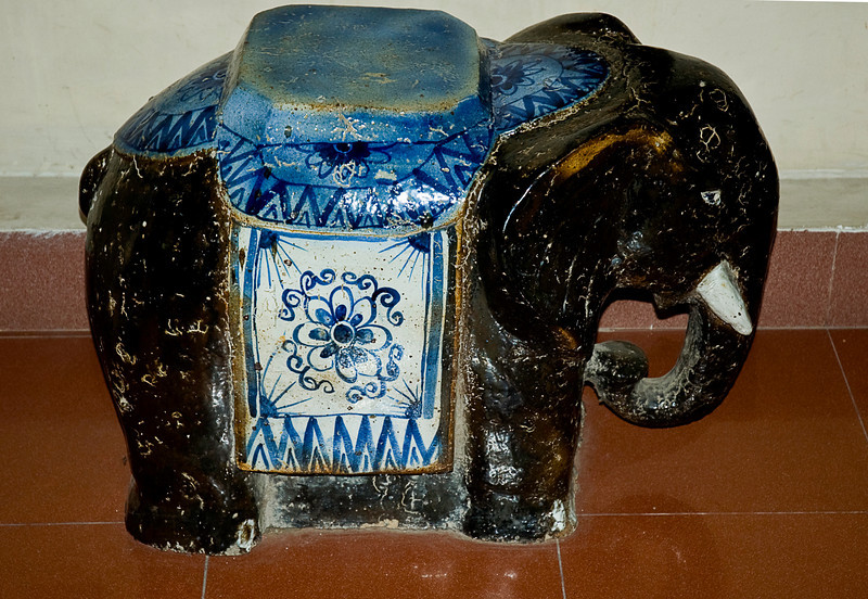 The original BUFE, National Museum, Hanoi. During the US involvement in Vietnam, officers whose personal effects where to be shipped back to the States learned that the large and elaborate ceramic elephants popular in country were reliably fragile resulting a guaranteed insurance claim. The claims were allegedly coded BUFE for Big Ugly F*&%ing Elephant.