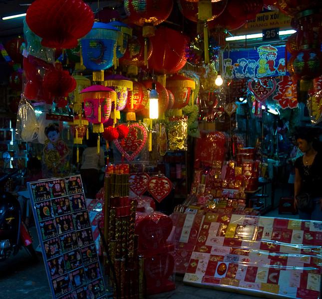 Paper goods stall in Hanoi's Old Quarter