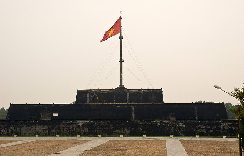 The Citadel, Hue, was built in its current form in the early 19th century as the capital of Vietnam under the Nyugen dynasty. The Flag Tower, also called the King's Knight was first erected in 1807 housing cannons and sentries; it overlooks the Perfume River.