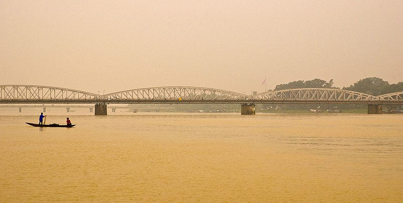 The six-span Nguyen Hoang Bridge carries Route One over the Perfume River, Hue
