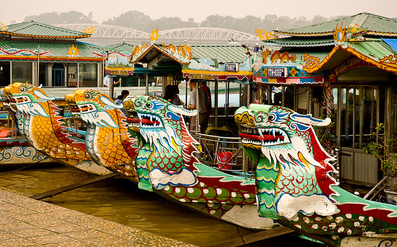 Dragon-head boats for tours on the Perfume River, Hue