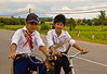 Schoolboys on a road in Tay Ninh