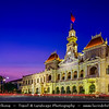 Vietnam - Ho Chi Minh City - Thành phố Hồ Chí Minh - Saigon - Sài Gòn - Evening View of Ho Chi Minh City People's Committee Building - the Saigon Town Hall was first known as the Hotel de Ville