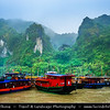 Vietnam - Ha Long bay - Vịnh Hạ Long - Descending Dragon bay - UNESCO World Heritage site - located in Quảng Ninh province - Traditional boats