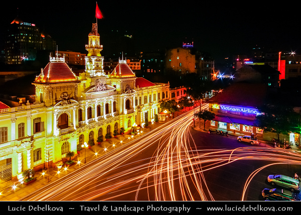 Vietnam - Ho Chi Minh City - Thành phố Hồ Chí Minh - Saigon - Sài Gòn - Evening View of Ho Chi Minh City People's Committee Building - the Saigon Town Hall was first known as the Hotel de Ville